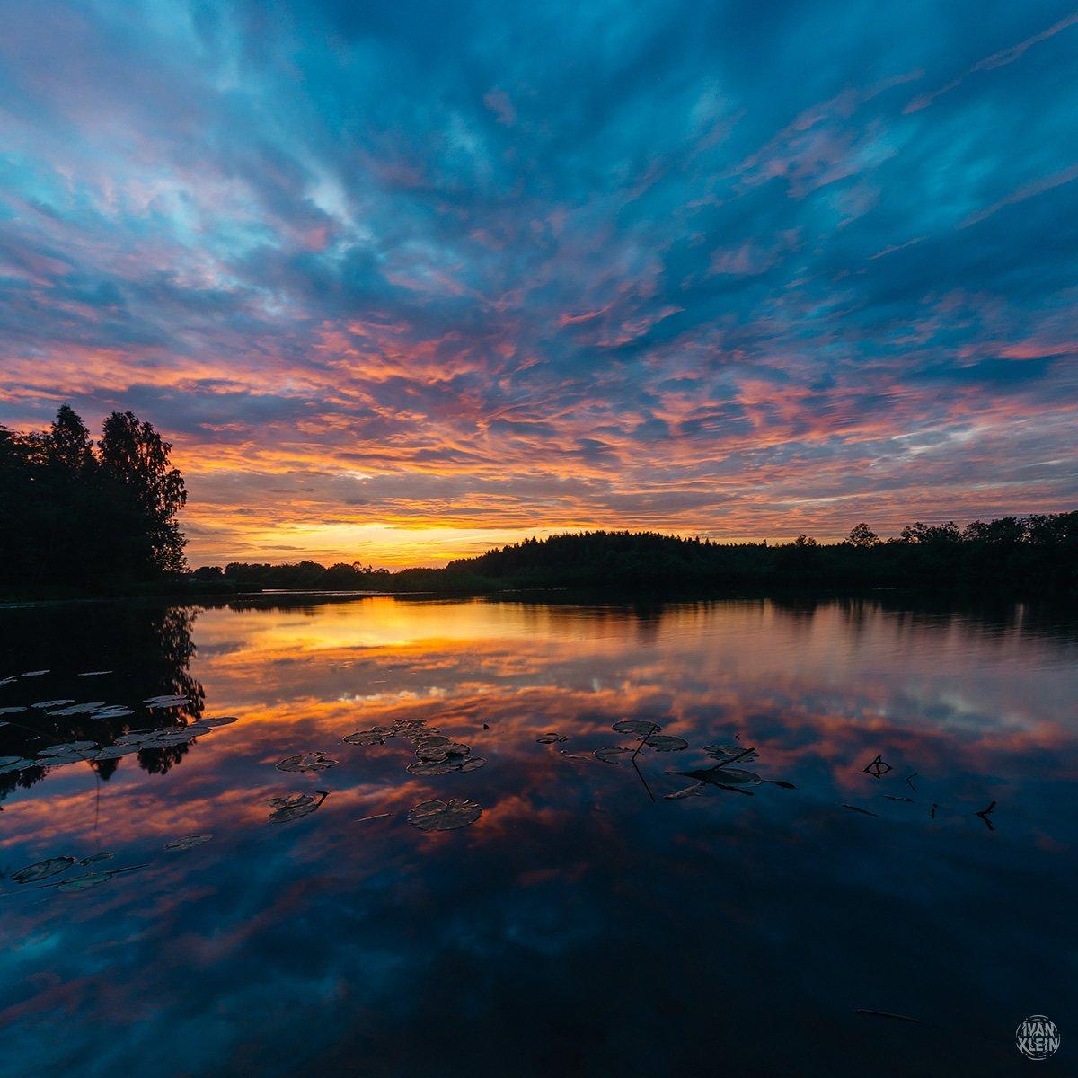 река,закат,речка,вечер,озеро,вода,небо,красиво,природа,пейзаж,отражение,солнце,свет, Иван Клейн