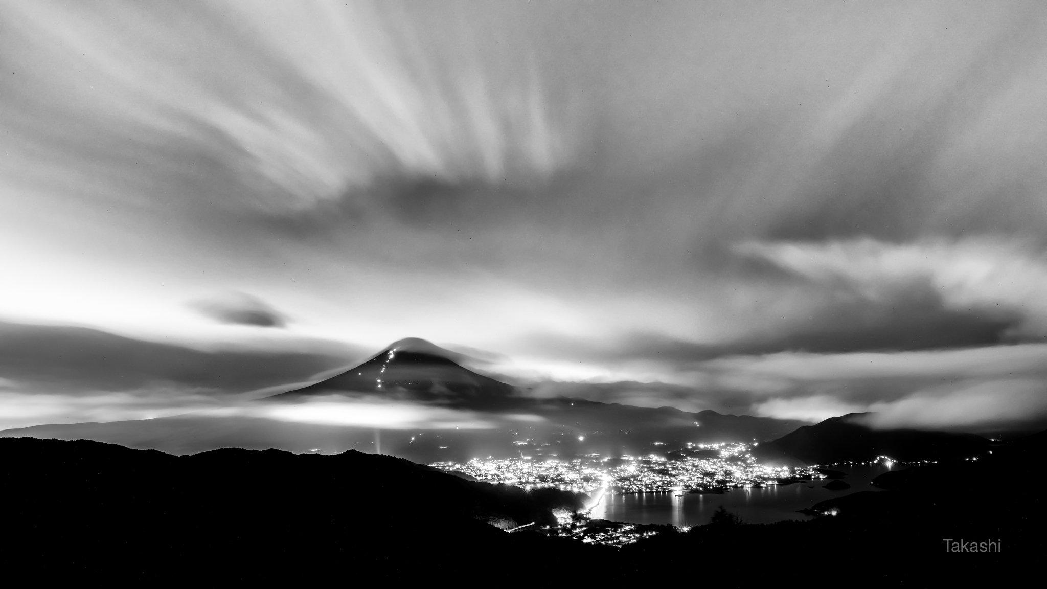 Fuji,Japan,mountain,clouds,dramatic,lake,night,, Takashi