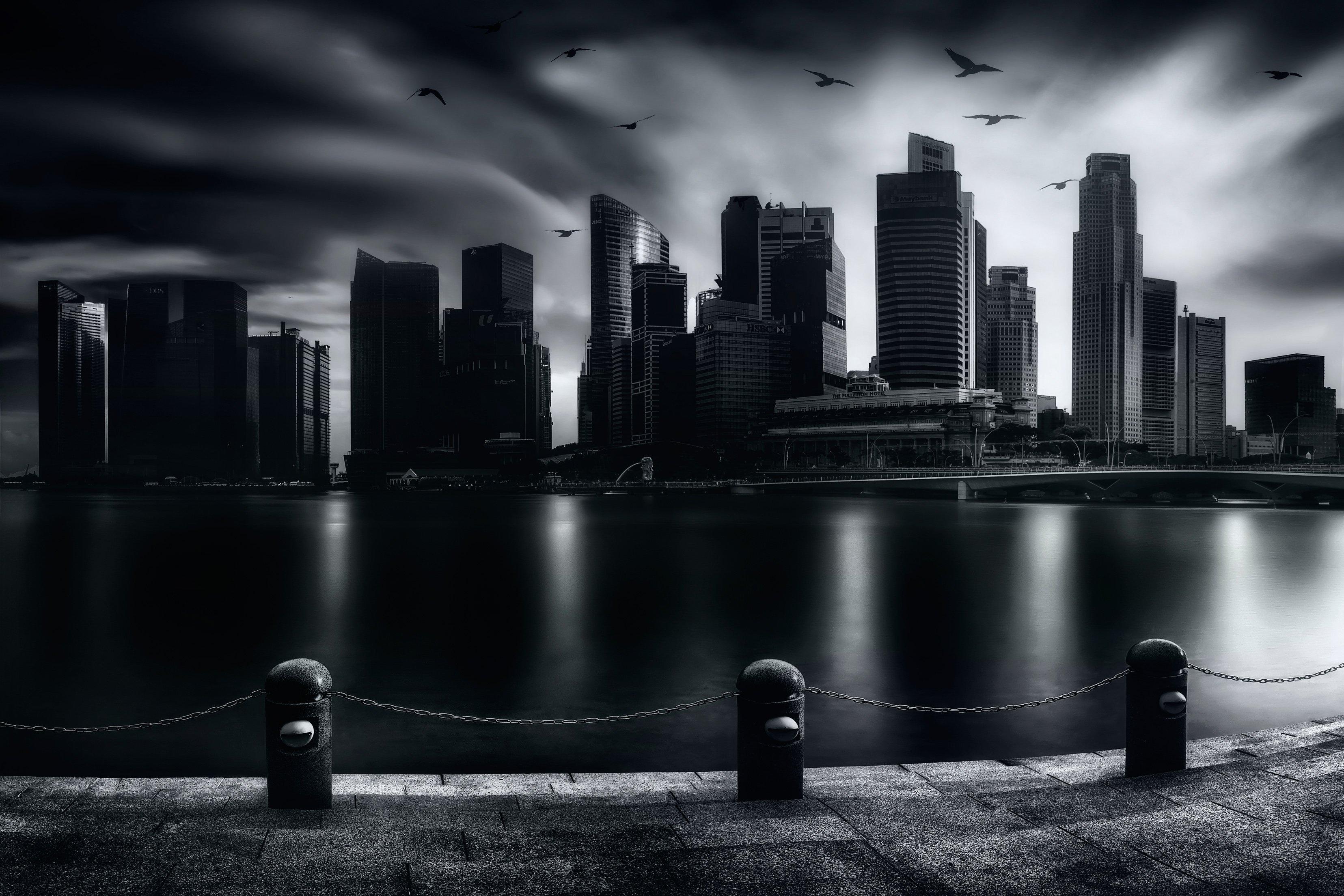 чб, город, городской пейзаж, сингапур, Алексей Ермаков
