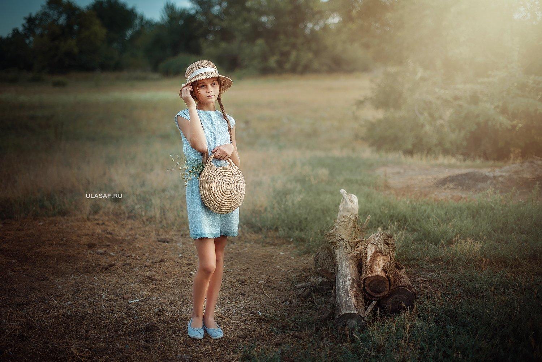 портрет, лето, девочка, girl, summer, portrait, деревня, шляпка, закат, нежность, вечер, Юлия Сафонова