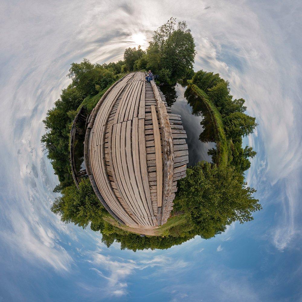 деревянный мост, лесная река, небо, облака, лес, мещёра, рязанская область, Валерий Пешков