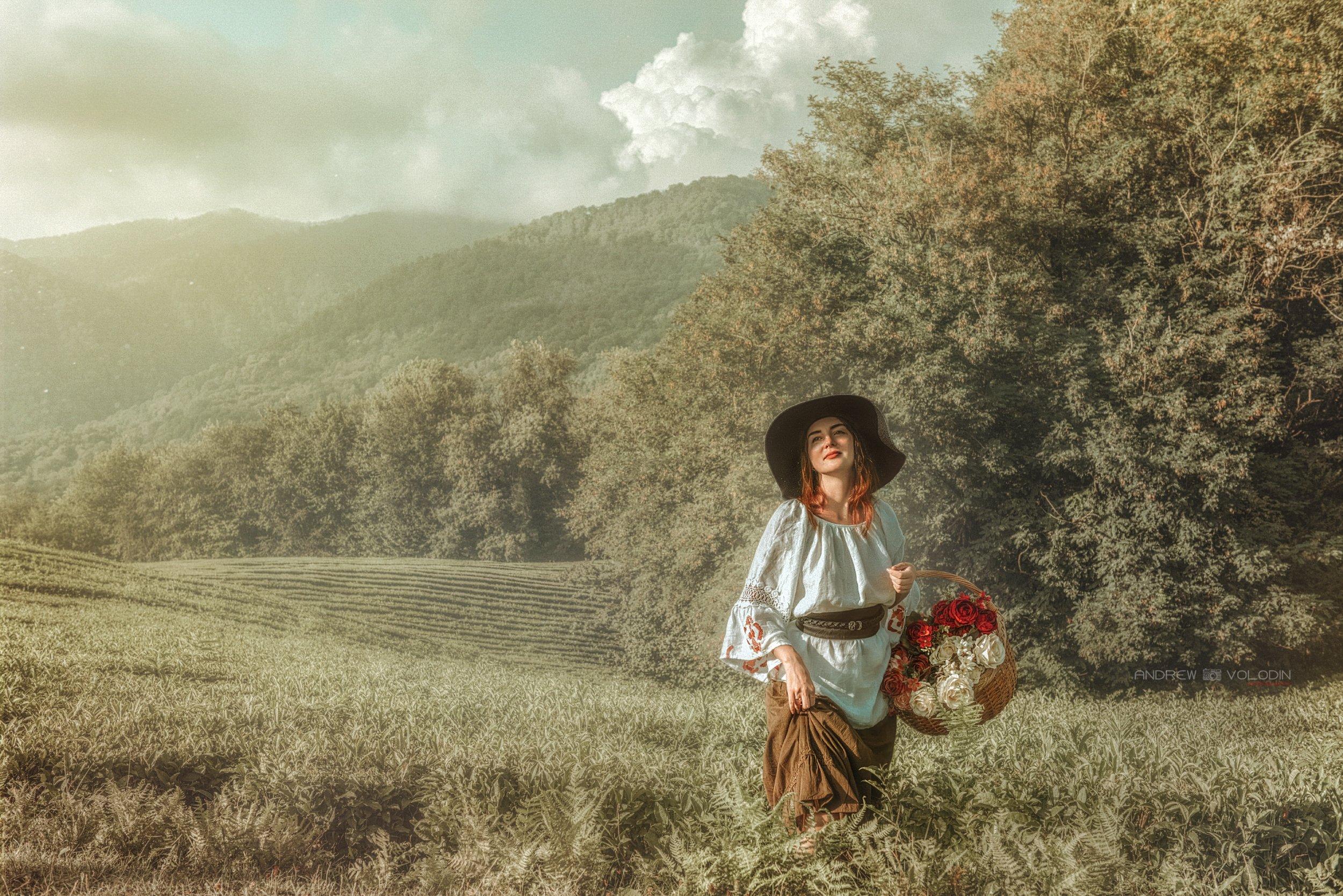 девушка поле чайные плантации платье цветы корзина природа русь, Андрей Володин