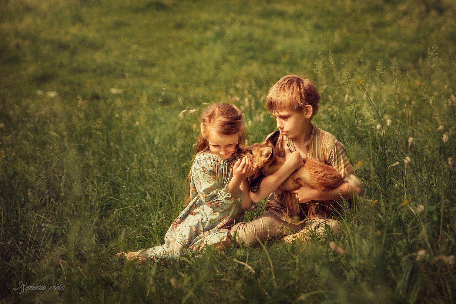 дети, лис, лиса, поле, лето, детское фото, портрет, children, child, fox, summer, field, green, Марина Семёхина