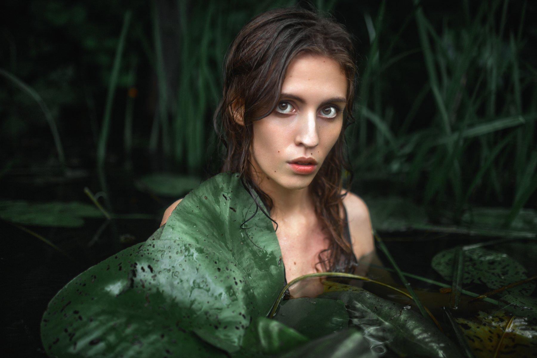 река, портрет, болото, кувшинки, девушка в реке, естественный свет, вода,, Маховицкая Кристина
