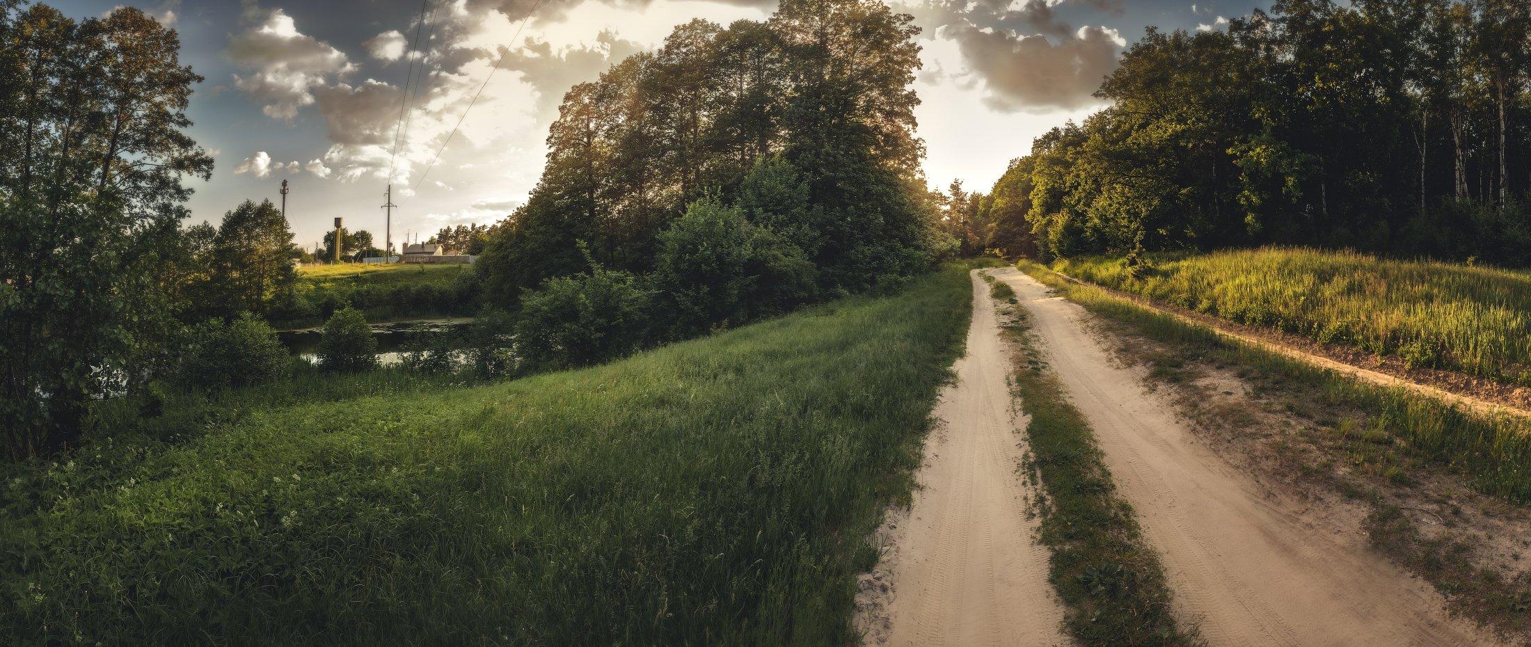 панорама, лето, вечер, закат, Андрей Кровлин