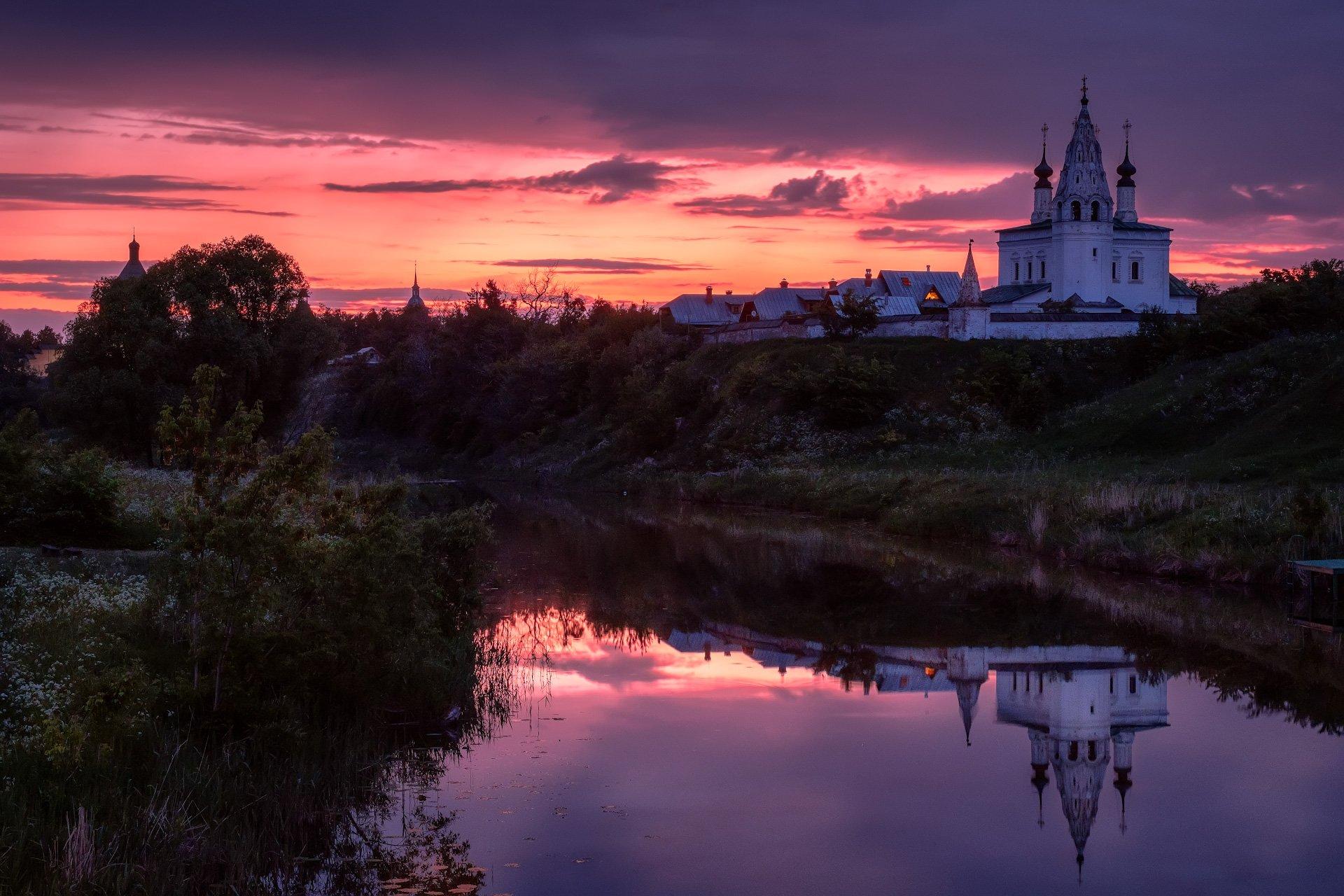 пейзаж, суздаль, каменка, река, монастырь, ночь, рассвет, Андрей Чиж