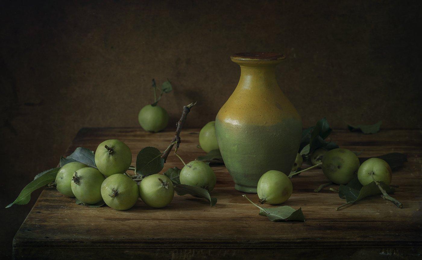 натюрморт,зелёные яблоки, Елена Рубинская