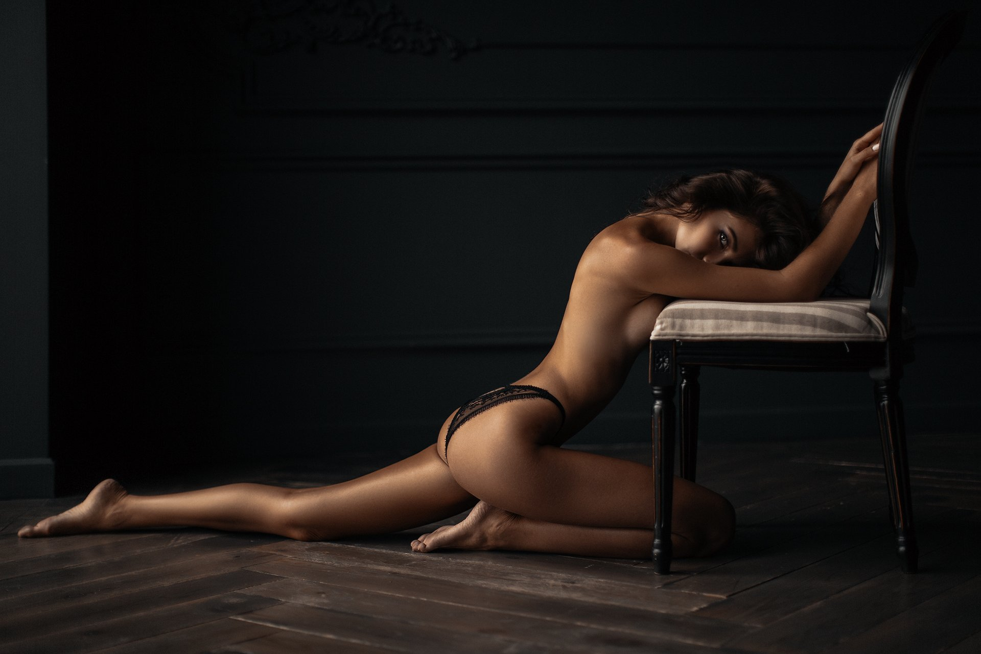 sexy, portrait, black, white, b&w, girl, hair, studio, light, beautiful, eyes, Востриков Сергей