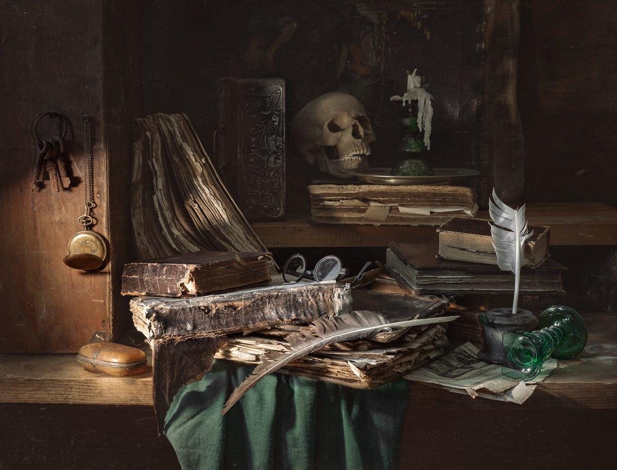 still life, stilleven, натюрморт, книги, старые книги, vanitas, evgeny kornienko, евгений корниенко, Евгений Корниенко