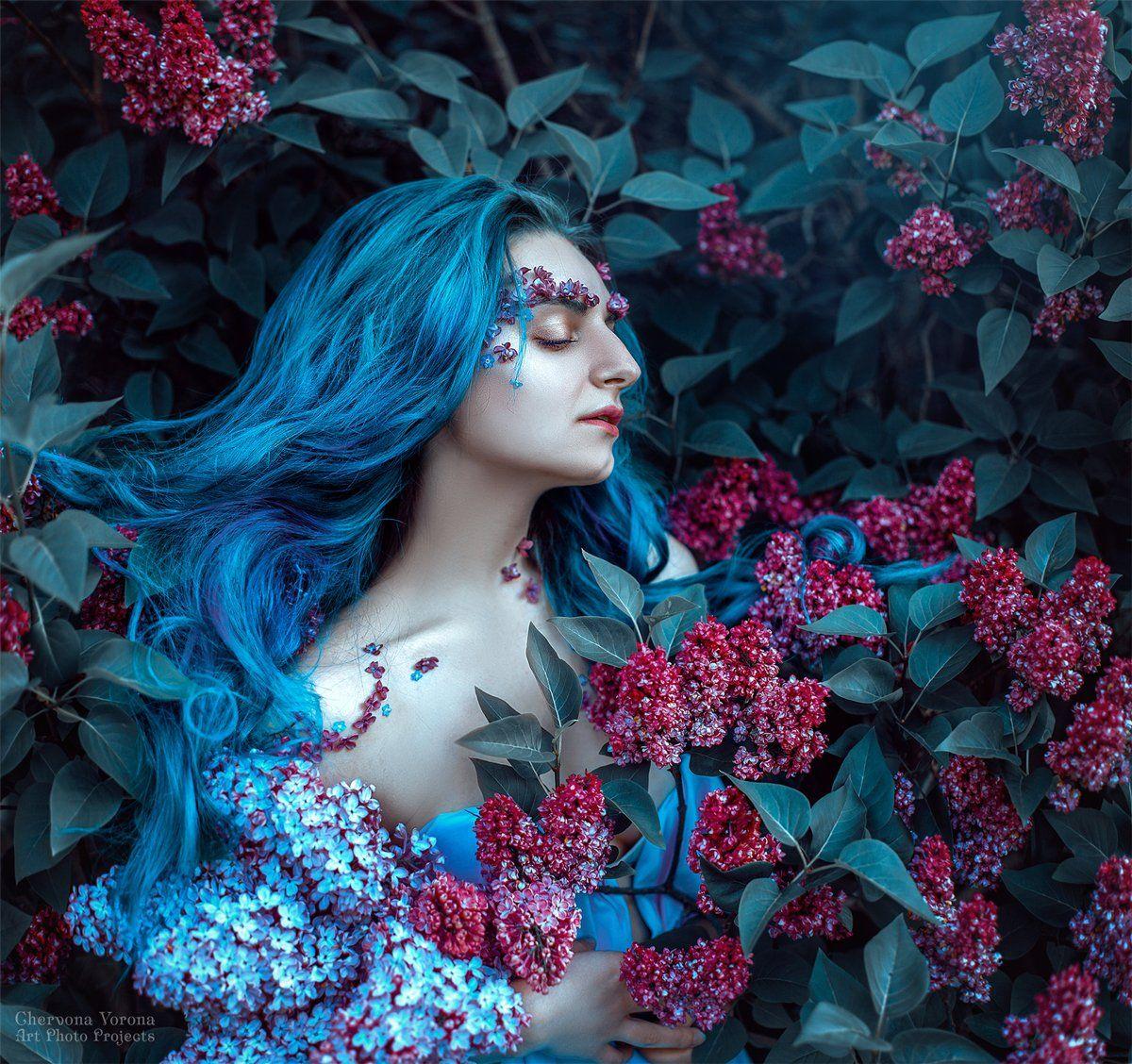 сирень, портет, цветы, голубые волосы, Червона Ворона