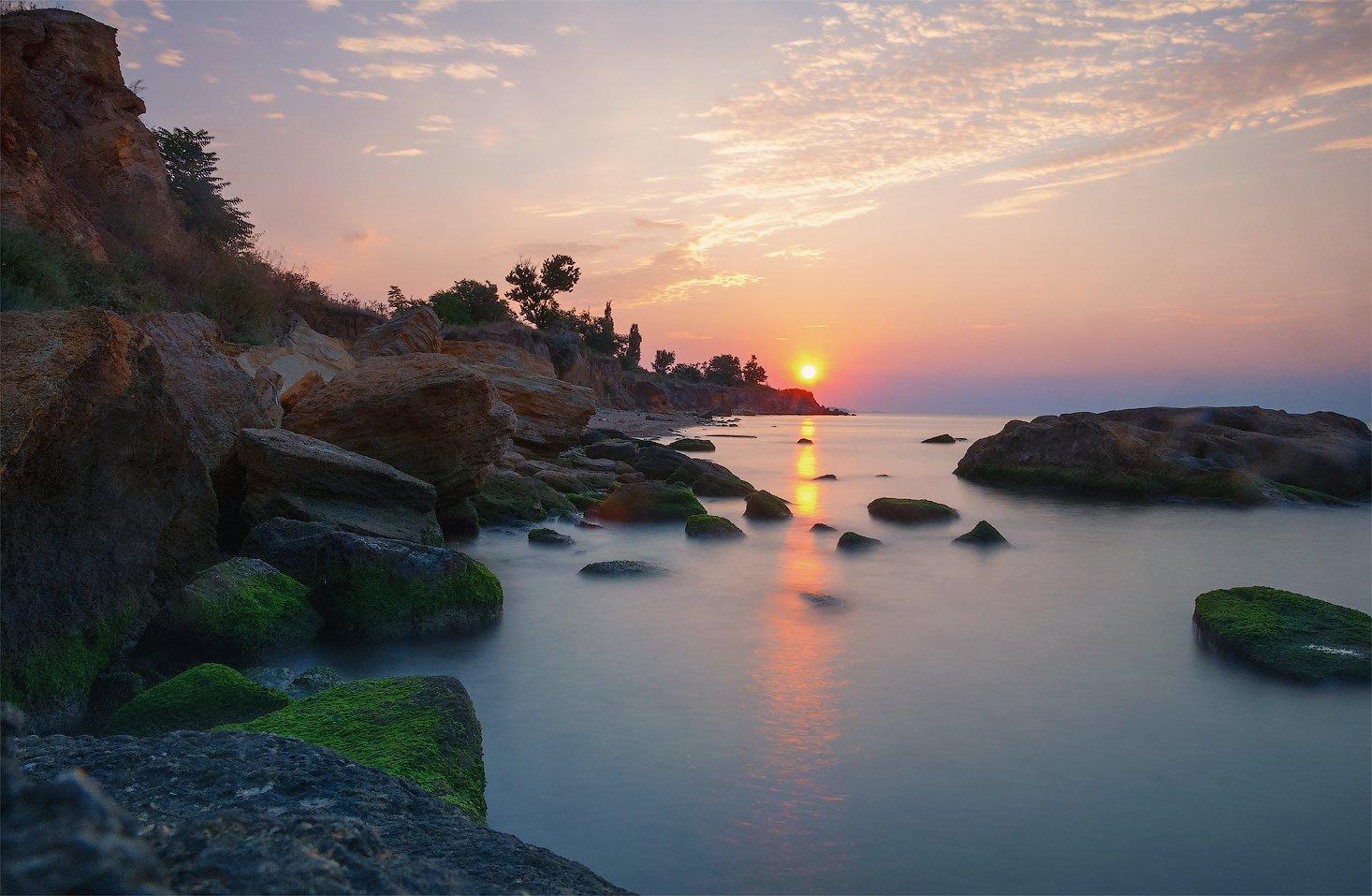 одесса, фонтанка, украина, восход, солнца, камни, море, вода, туман, облака, Андрей Кобыща