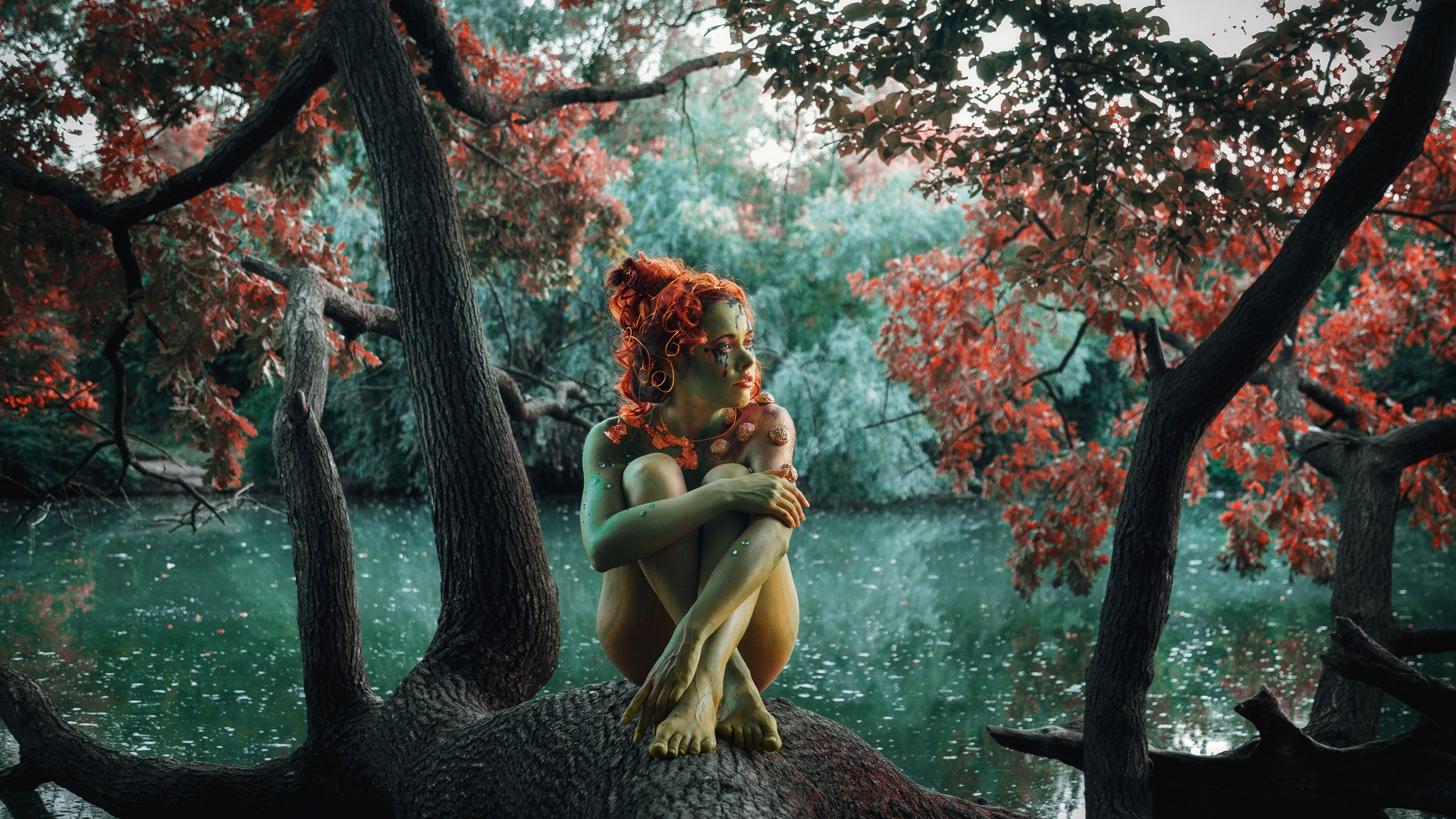 girl, model, nymph, fairy tale, fantasy, body painting, red, mermaid, forest, river, russia, девушка, модель, нимфа, сказка, фентези, бодиарт, рыжая, русалка, лес, река, россия, Васильев Андрей