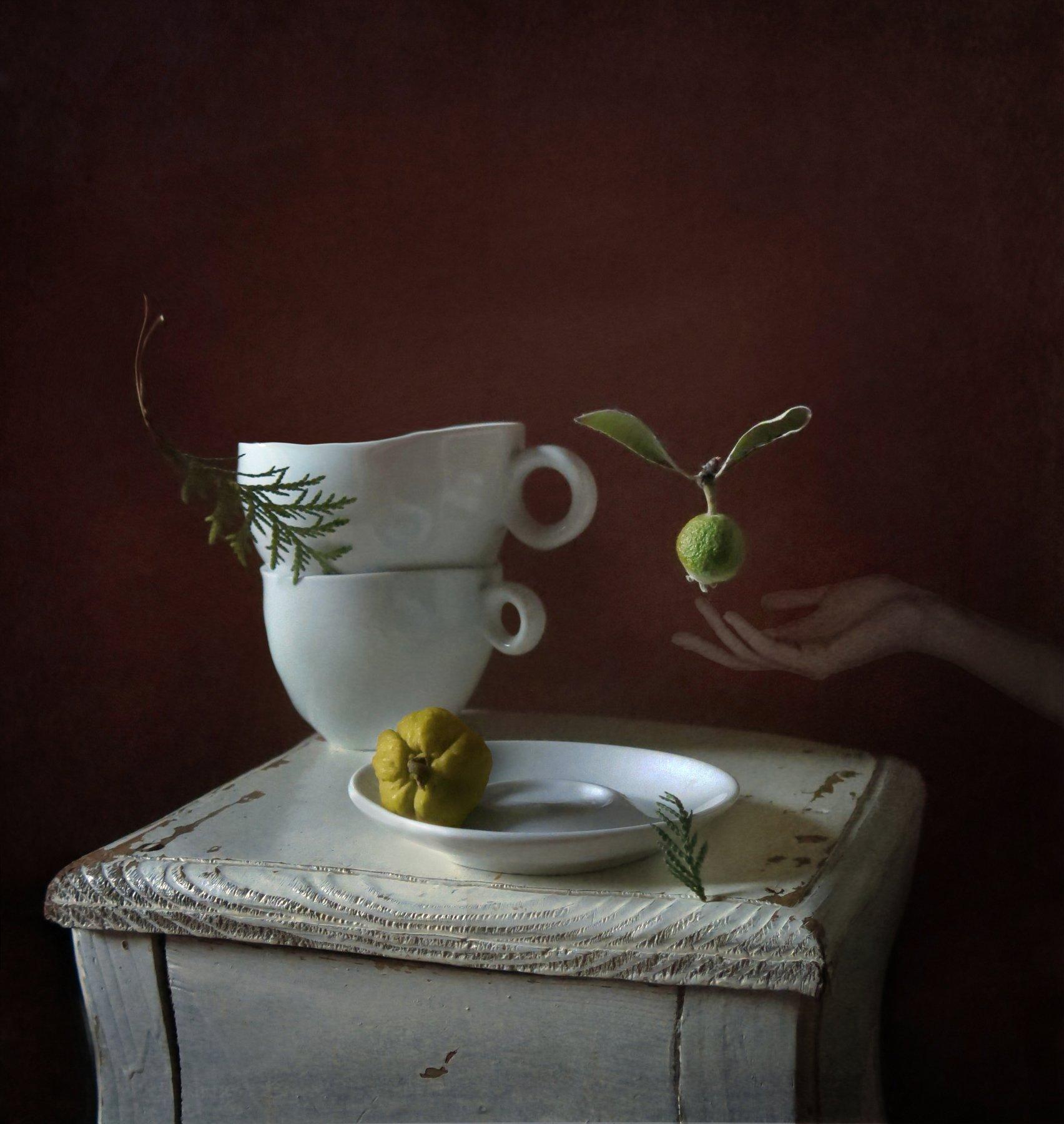 фрукт, посуда, чашка, блюдце, табурет, рука, веточка, невесомость, Елена Лысенко