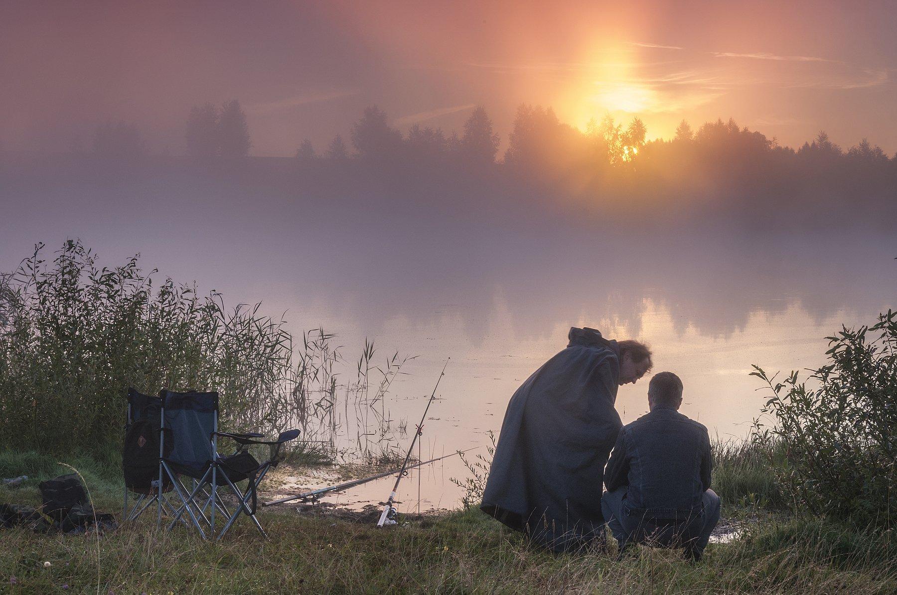 пейзаж,лето,река,туман,рассвет,рыбалка,россия,солнце , Павел Ныриков