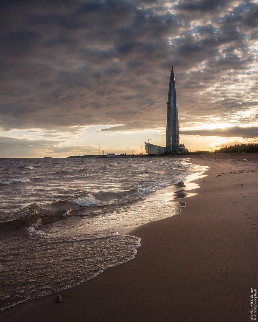 вечер, берег, пляж, волны, финский залив, лахта центр, санкт-петербург, Владимир Ушаков