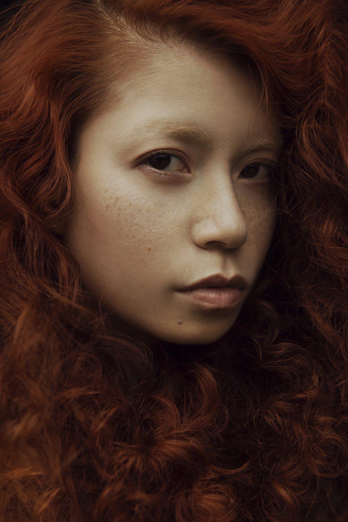 carolinemadison, portrait, beauty, redhair, redhead, portraiture, curlyhair,  asian, emotion, longhair,, Caroline Madison