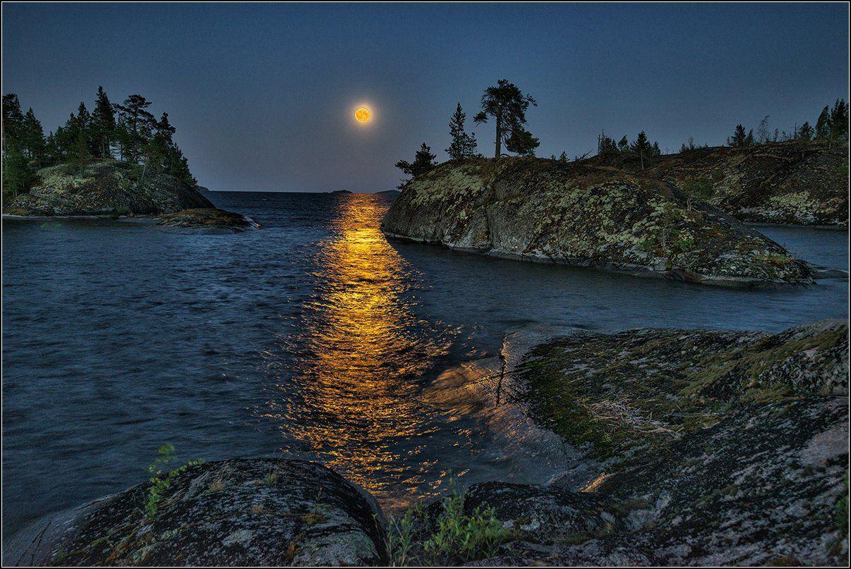 карелия, ладожское озеро, вечер, луна, дорожка, острова, Анатолий Довыденко