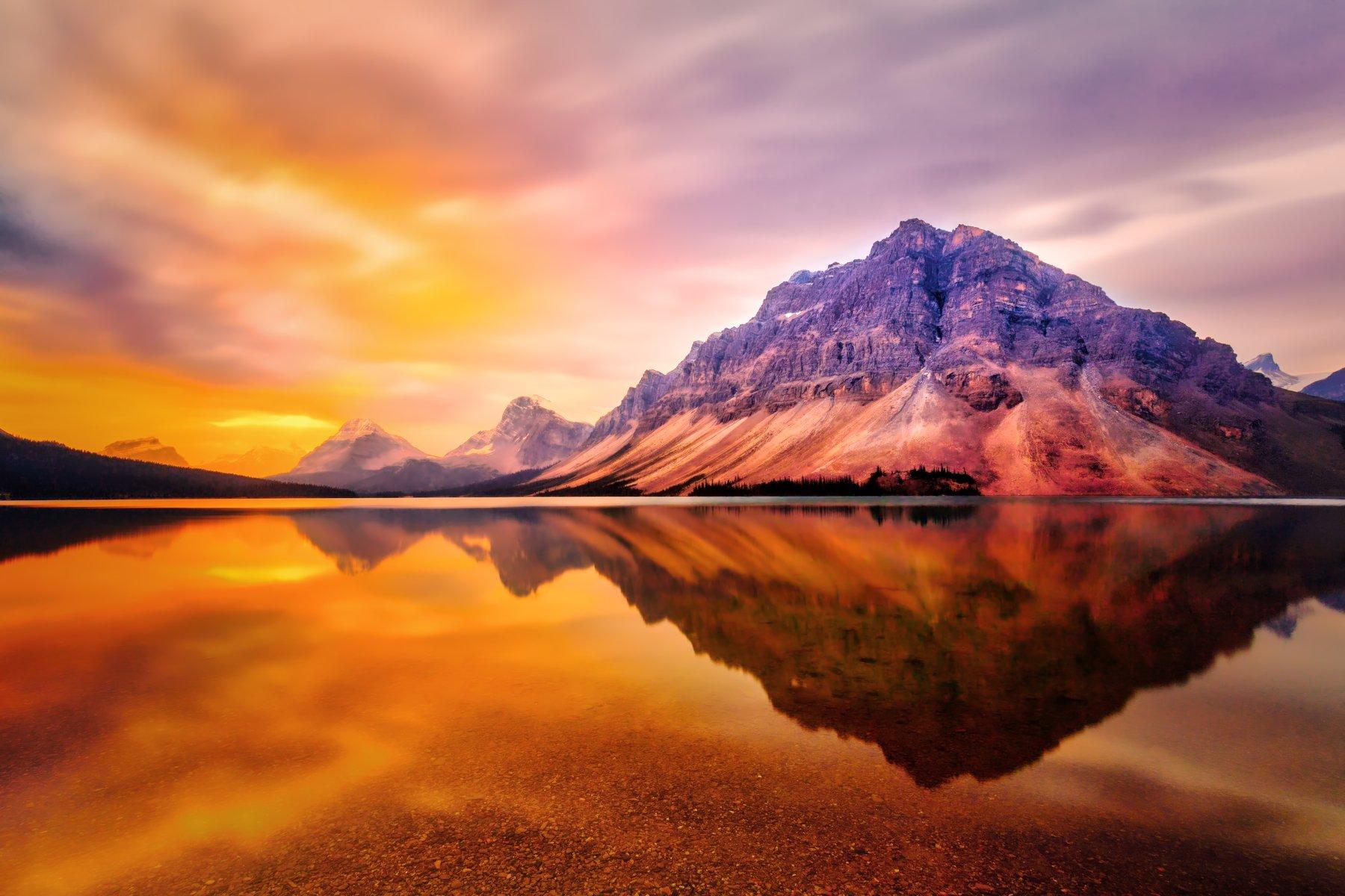 lake, mountain, sunrise, water, reflection,, Brian Adamson
