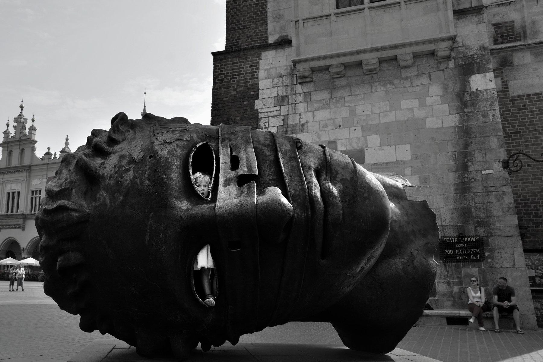 #krakow #travel #black and white #street #art #city, RACEALA ELENA