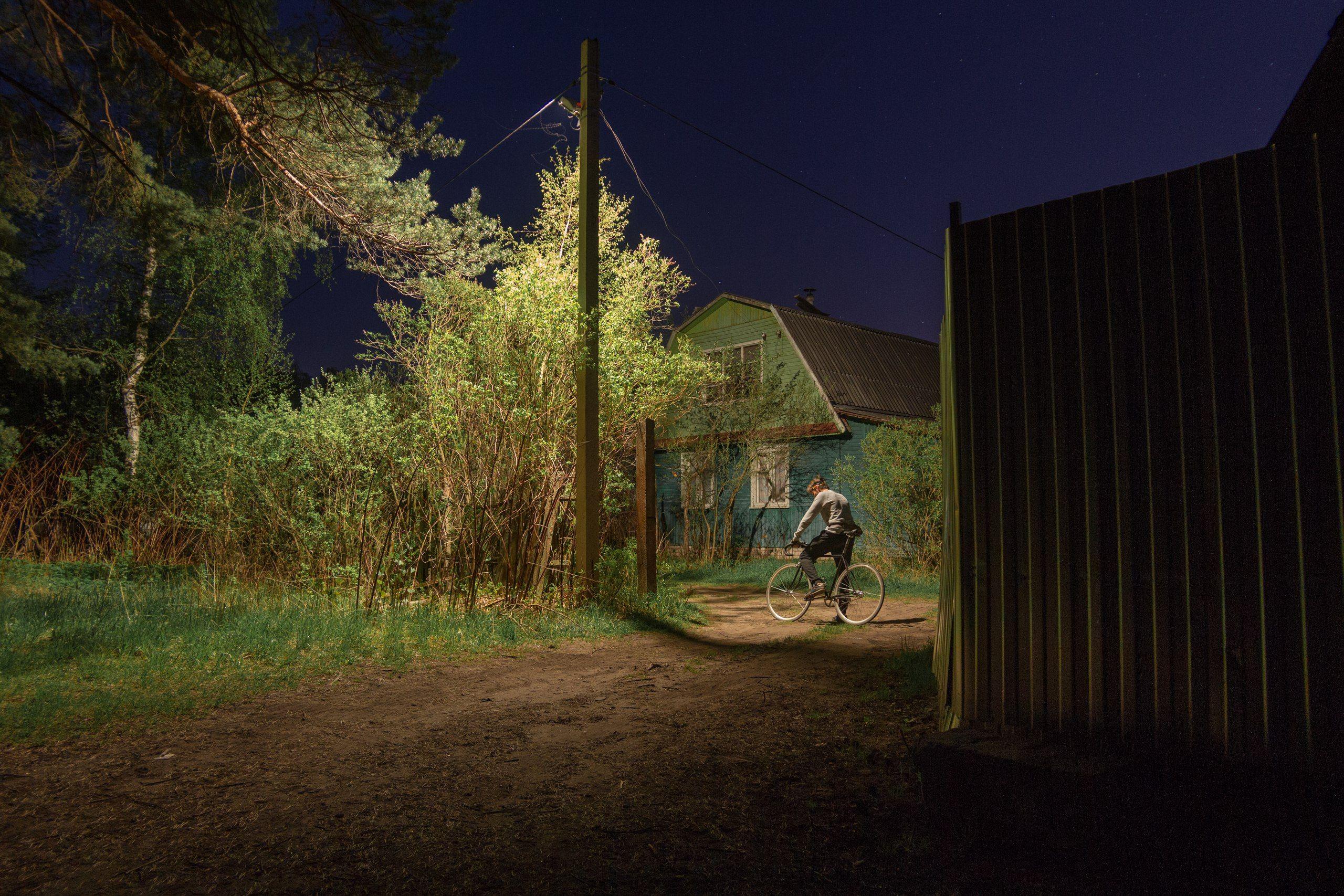ночь  россия велосипед деревня, Евгений Озеров