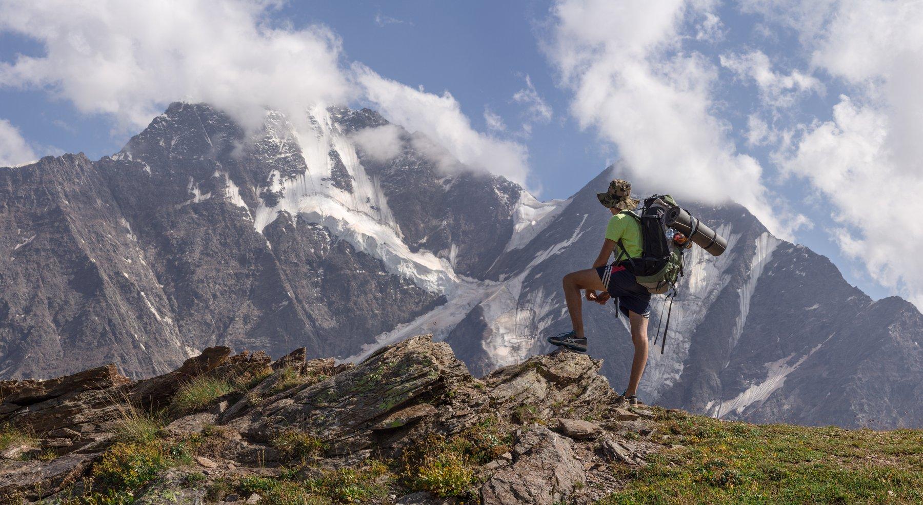 горы кавказ эльбрус путешествие чегет ледник закат, Евгений Озеров