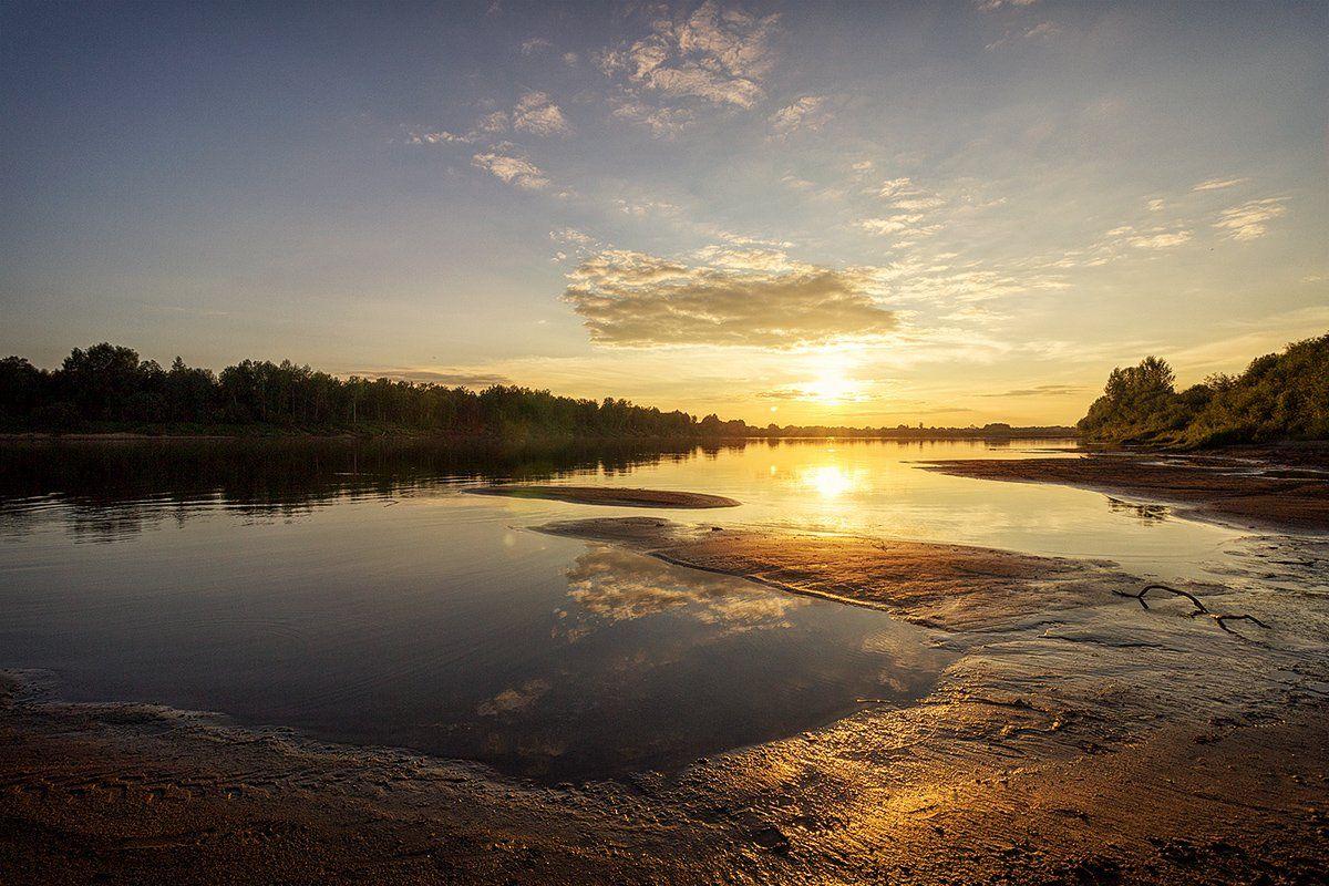 закат, лето, река, небо, облака, отражение, солнце, Пушкарев Николай