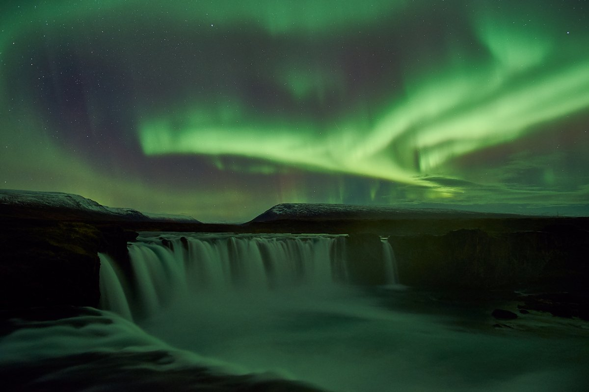 aurora,iceland,night,godafoss, Kobran