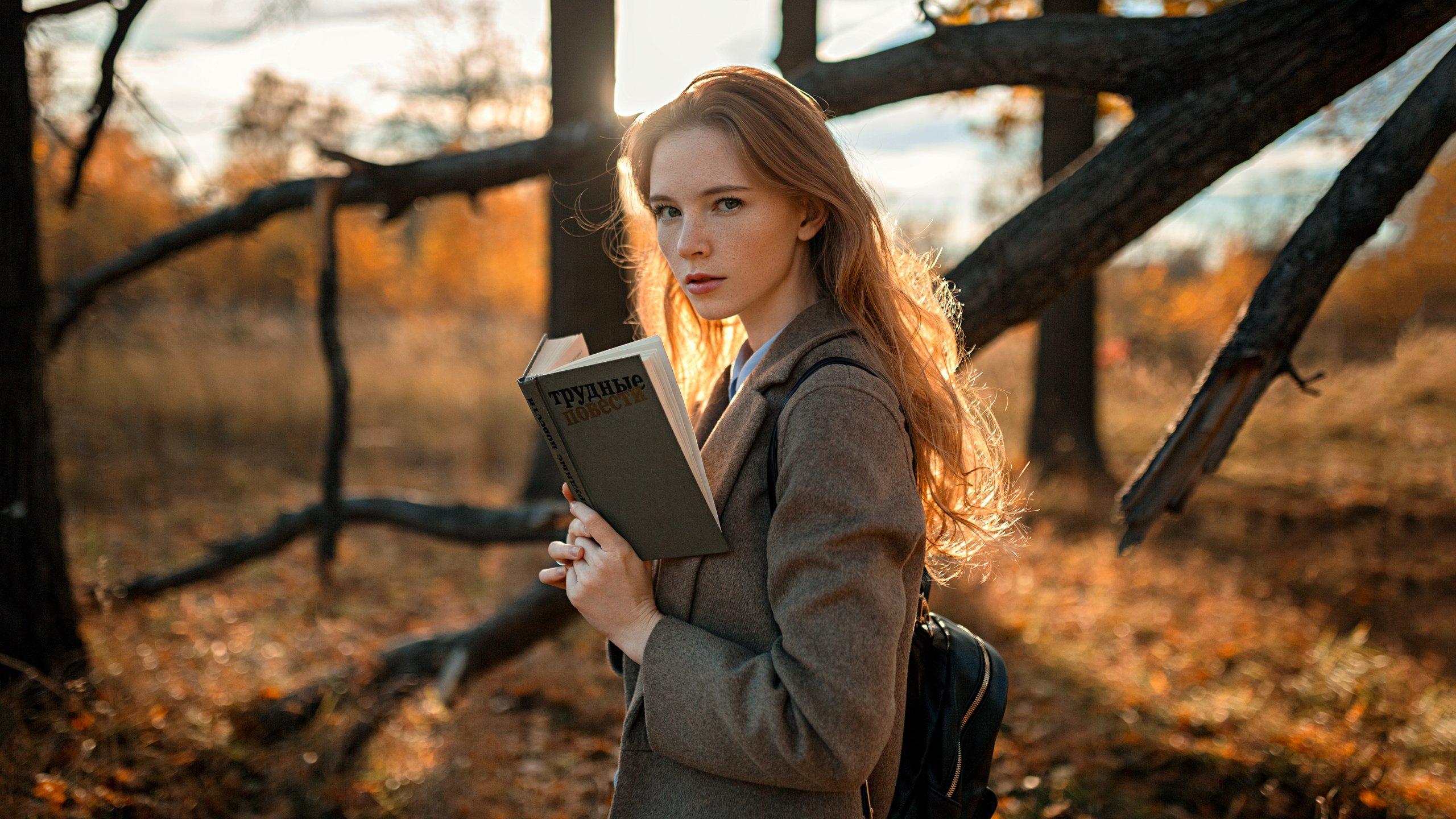 девушка, портрет, солнце, деревья, Александр Куренной