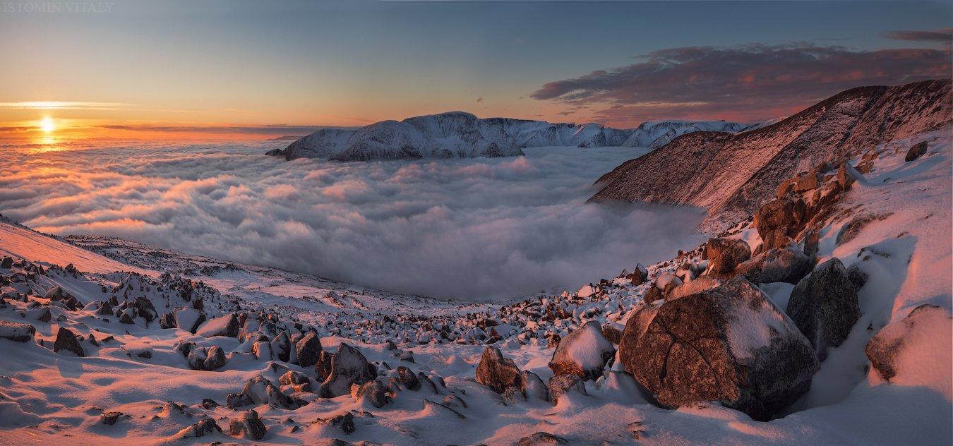 пейзаж,россия,хибины,панорама,свет,горы,туман,кольский,север,закат, Истомин Виталий