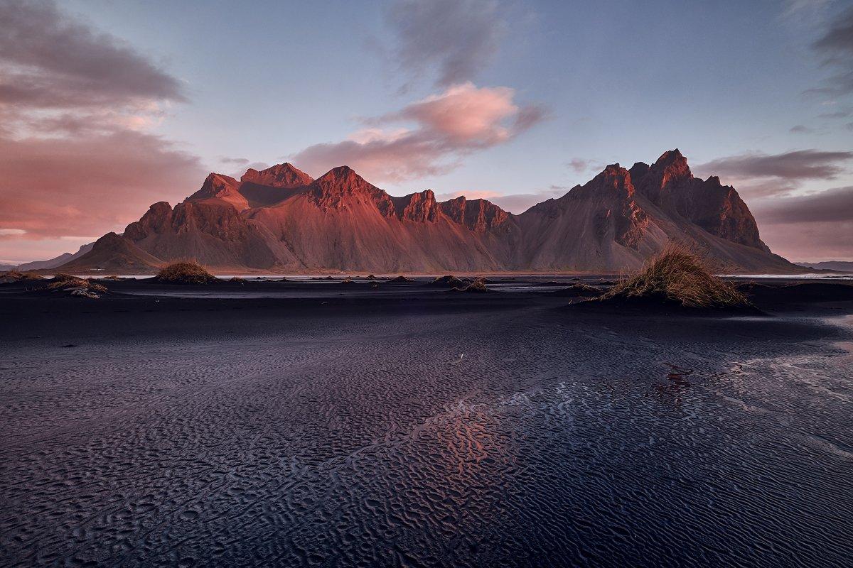 iceberg,iceland,sunset,ice,lake,clouds,mountains, vestrahorn, stoksness, Kobran
