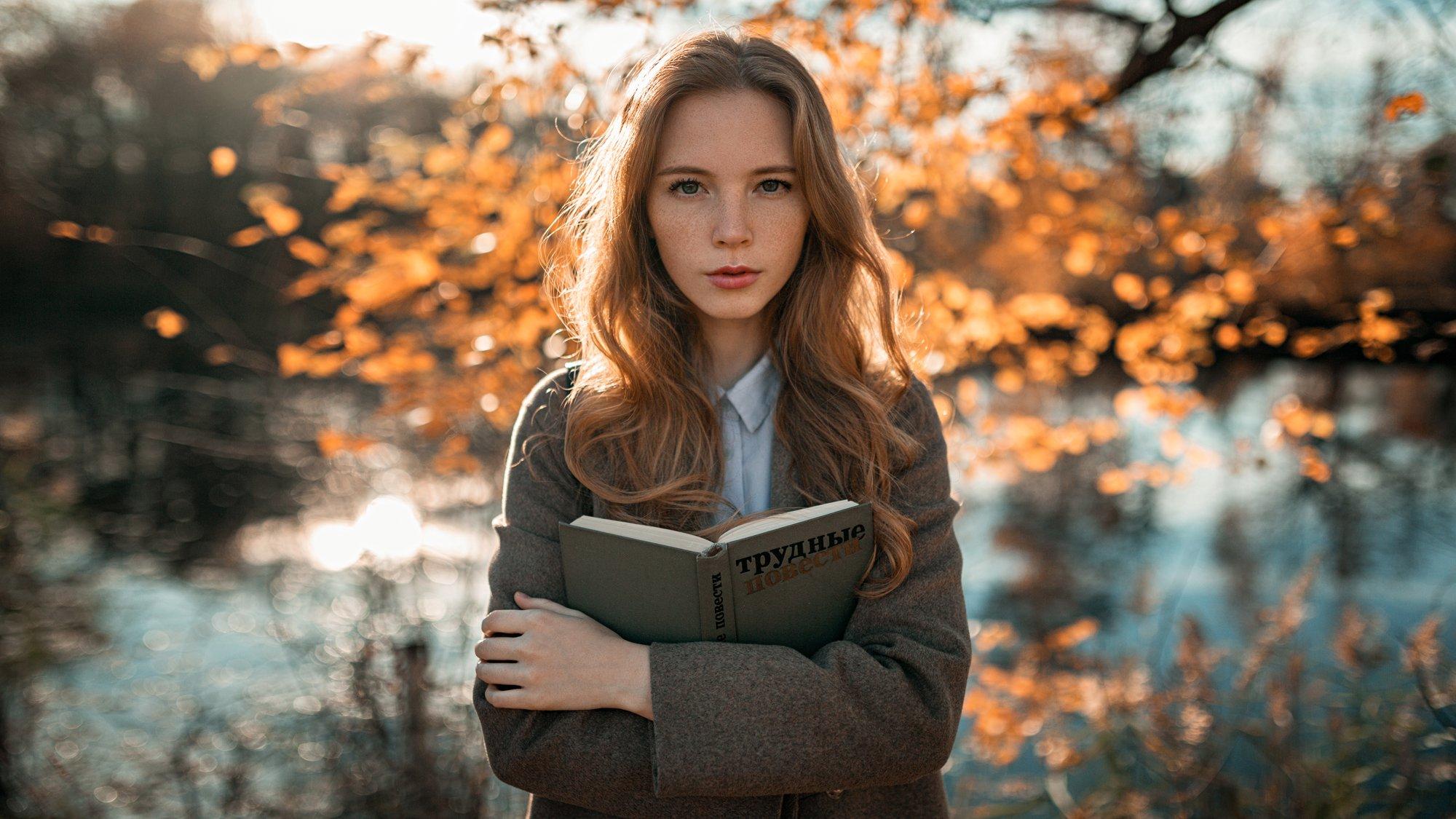 девушка, портрет, солнце, деревья, озеро, Александр Куренной
