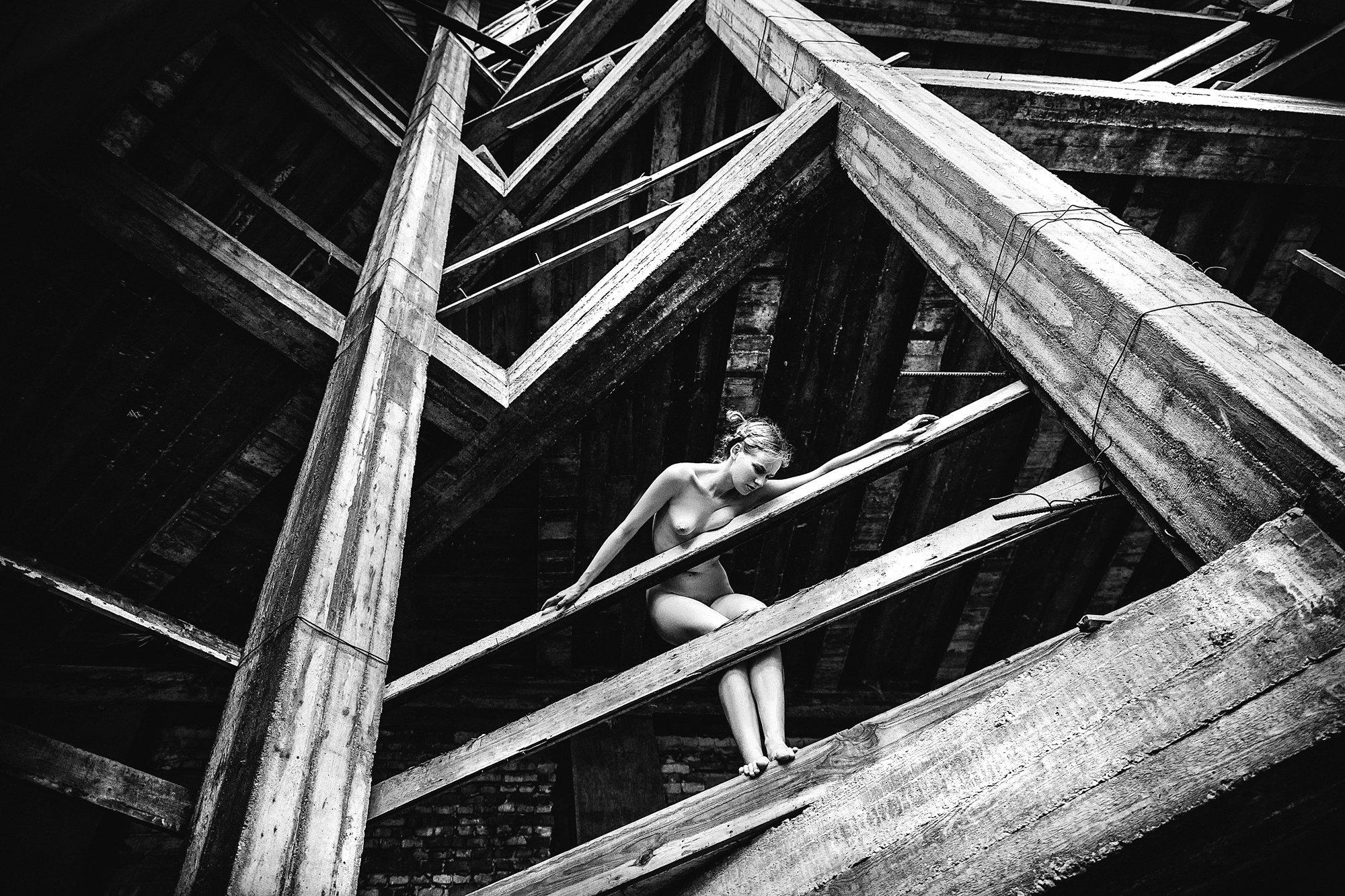 woman, nude, art, natural light, abandoned, Руслан Болгов (Axe)