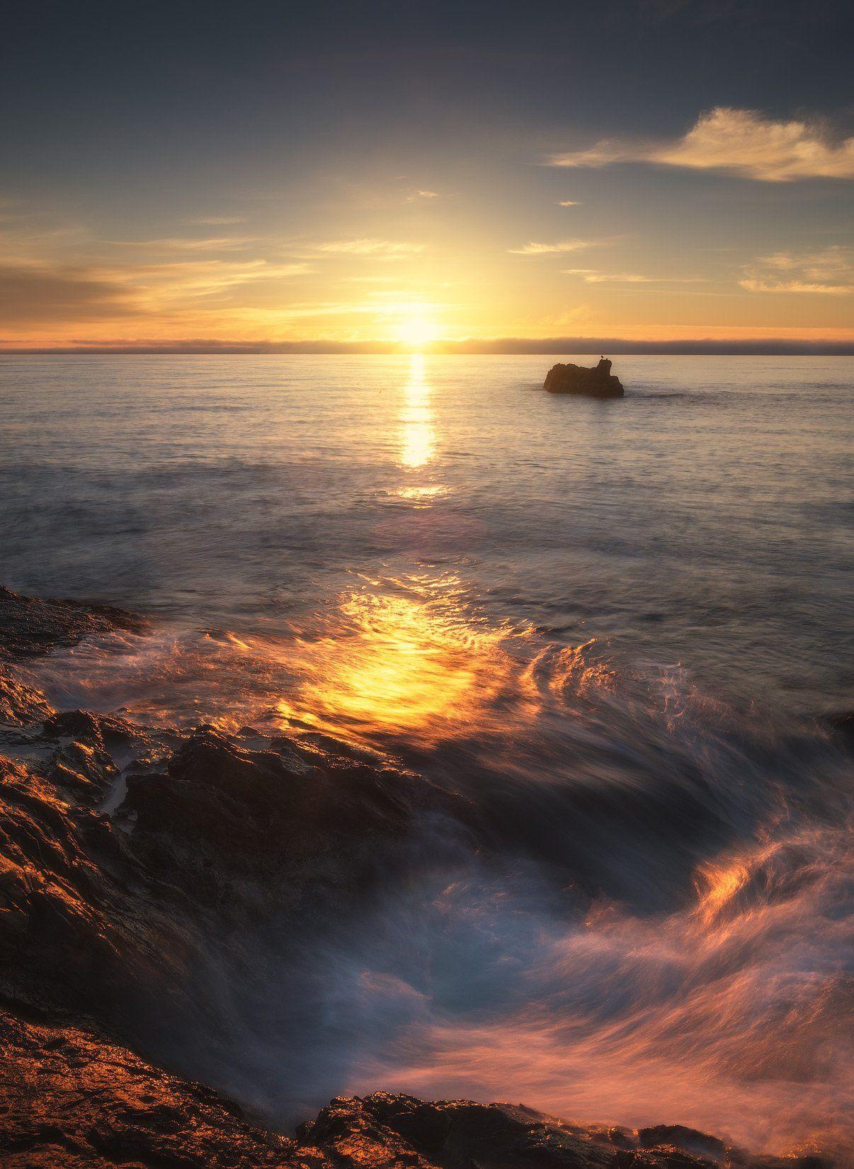 россия, крым, полуостров, пейзаж, природа, черное море, длинная выдержка, берег, камни, восход солнца, рассвет, Оборотов Алексей