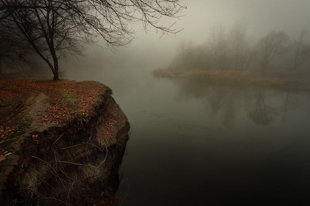 обрыв, осень, река, туман, утро, Петриченко Валерий