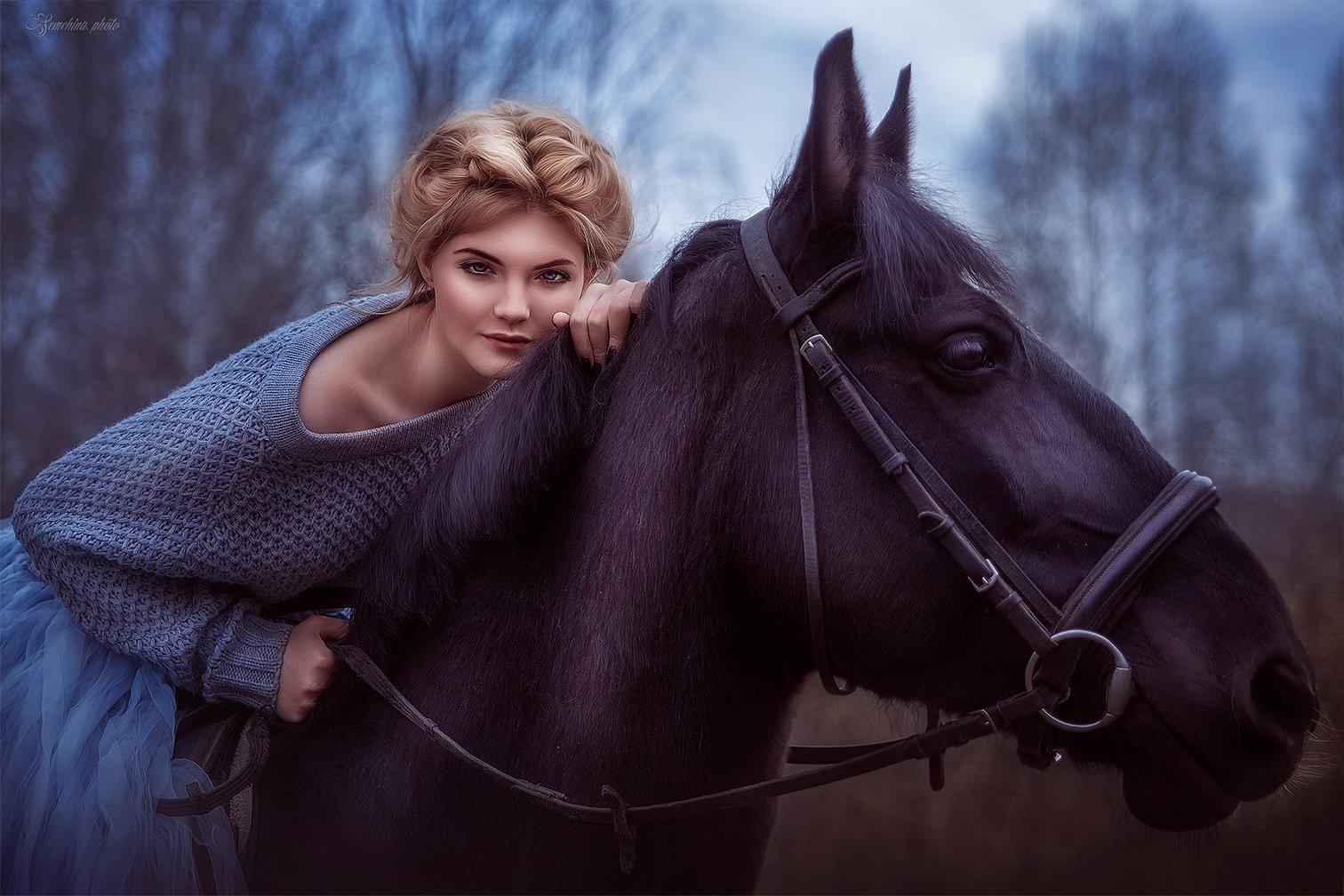 девушка, портрет, лошадь, фиолетовый, girl, portreit, horse, purple, Марина Семёхина