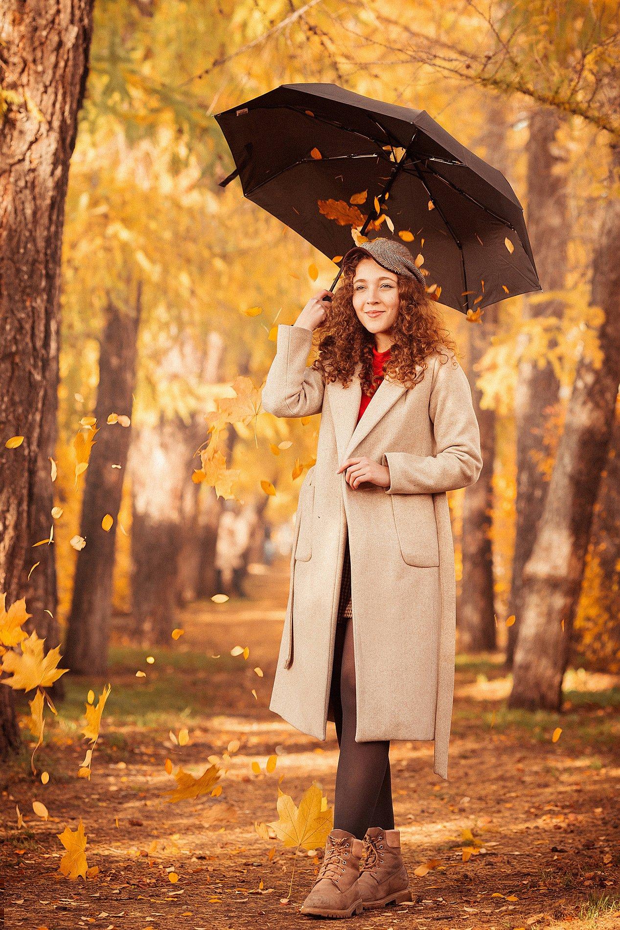 девушка, осень, листья, оранжевый, желтый, модель, красота, пальто, зонт, аллея, парк, кудри, волосы, Косарева Анастасия