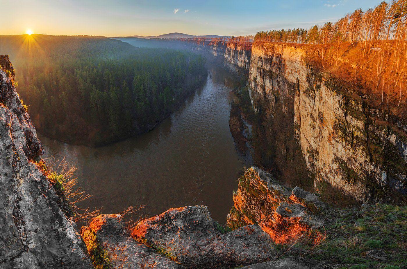 природа, пейзаж, урал,  весна, утро, восход, рассвет, река, панорама, Альберт Беляев