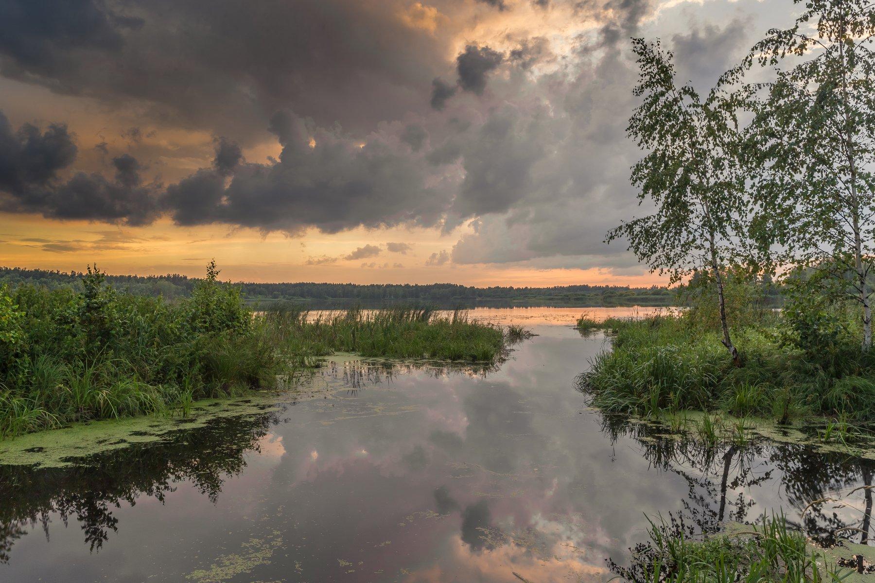 вечер, озеро, облака, гроза, Евгений Патрешов