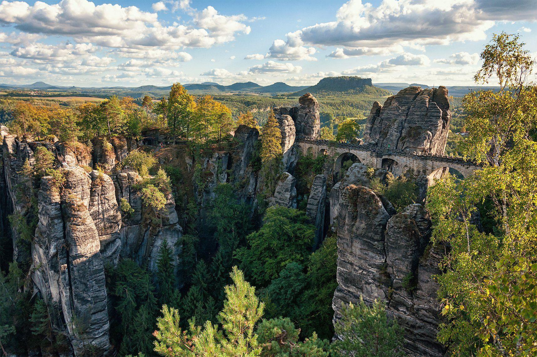 германия, саксонская швейцария, горы, бастай, лес, река, эльба, каньон, мост, тропа художников, Андрей Кобыща