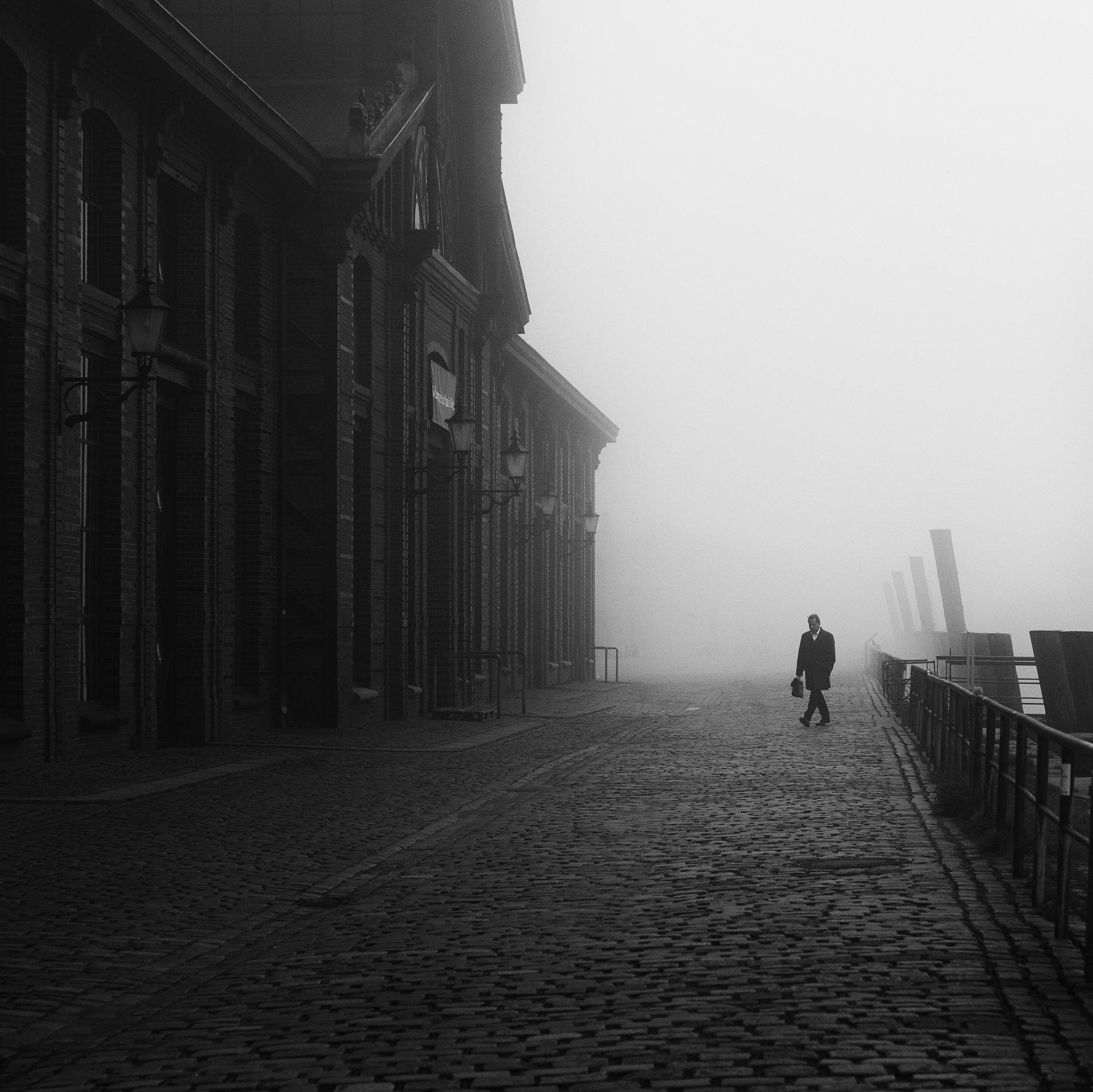 fog, mist, haze, person, street, urban, Alexander Schönberg