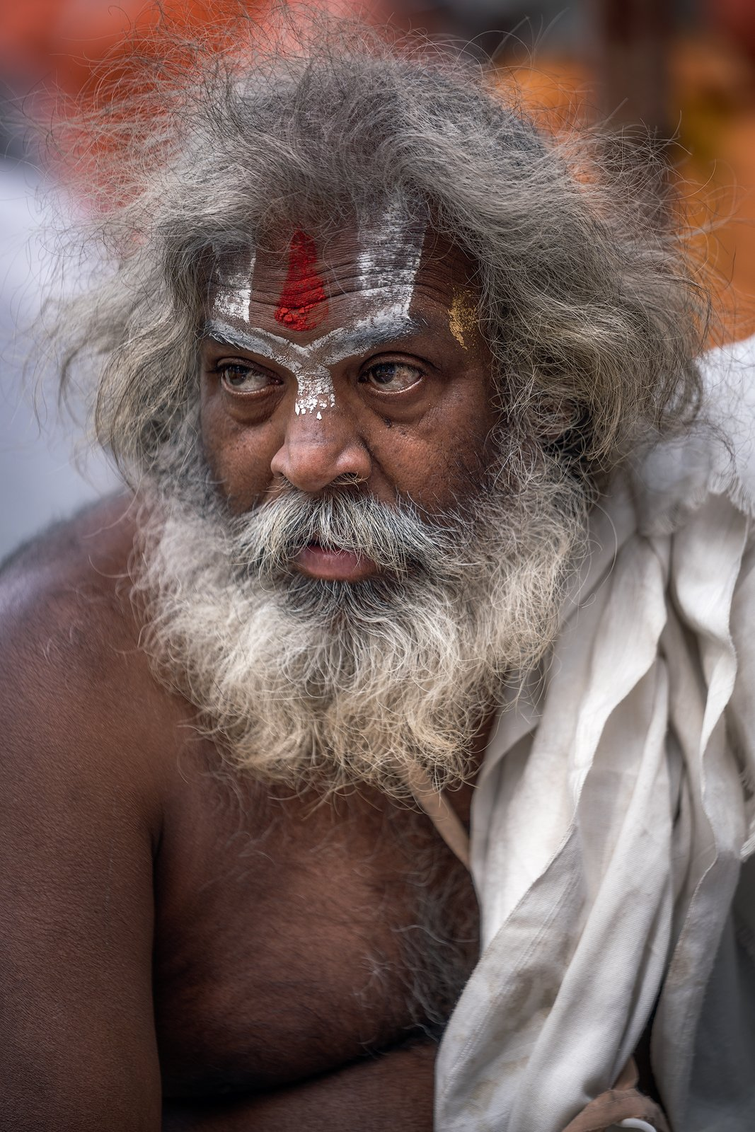 ascetic, baba, beard, beggar, begging, begging bowl, body paint, contemplation, face paint, face painting, god, hindu, hinduism, holy, holy man, india, karma, mala, meditation, moksha, monk, ochre, ochre robe, orange, paint, rishikesh, sadhu, sannyasi, sw, Ludwig Riml