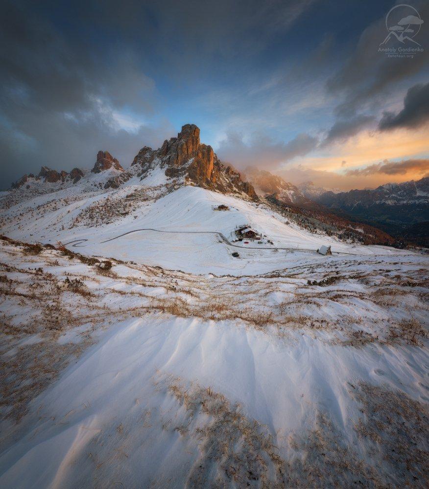 пейзаж, природа, горы, италия, доломиты осень снег, Анатолий Гордиенко www.fototour.org