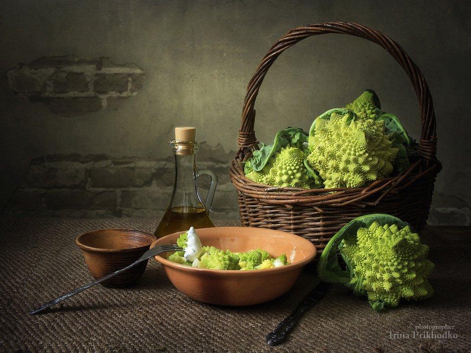 натюрморт, вегетарианство, овощи, осень, полезная еда, капуста романеско, Ирина Приходько