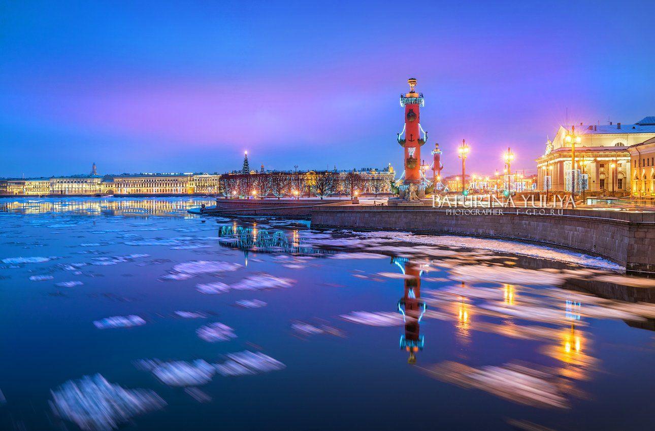 санкт-петербург, стрелка, ростральная колонна, зима, новый год, Юлия Батурина