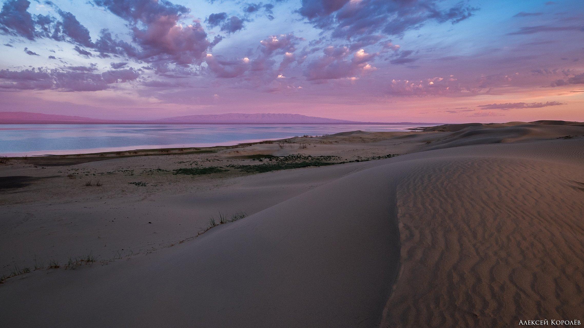 монголия, восход, озеро, пустыня, песок, пейзаж, природа, лето, mongolia, sunrise, lake, desert, sand, landscape, nature, summer, Алексей Королёв