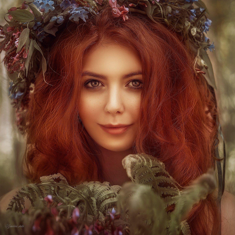 девушка, портрет, рыжая, лето, нимфа, girl, portreit, red hair, summer, nymph, Марина Семёхина