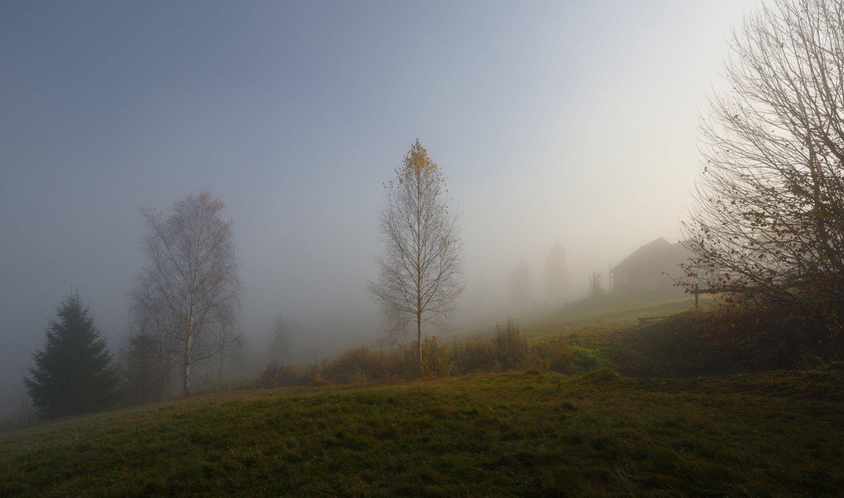 горы, туман, утро, домик, Вьюшкин Игорь