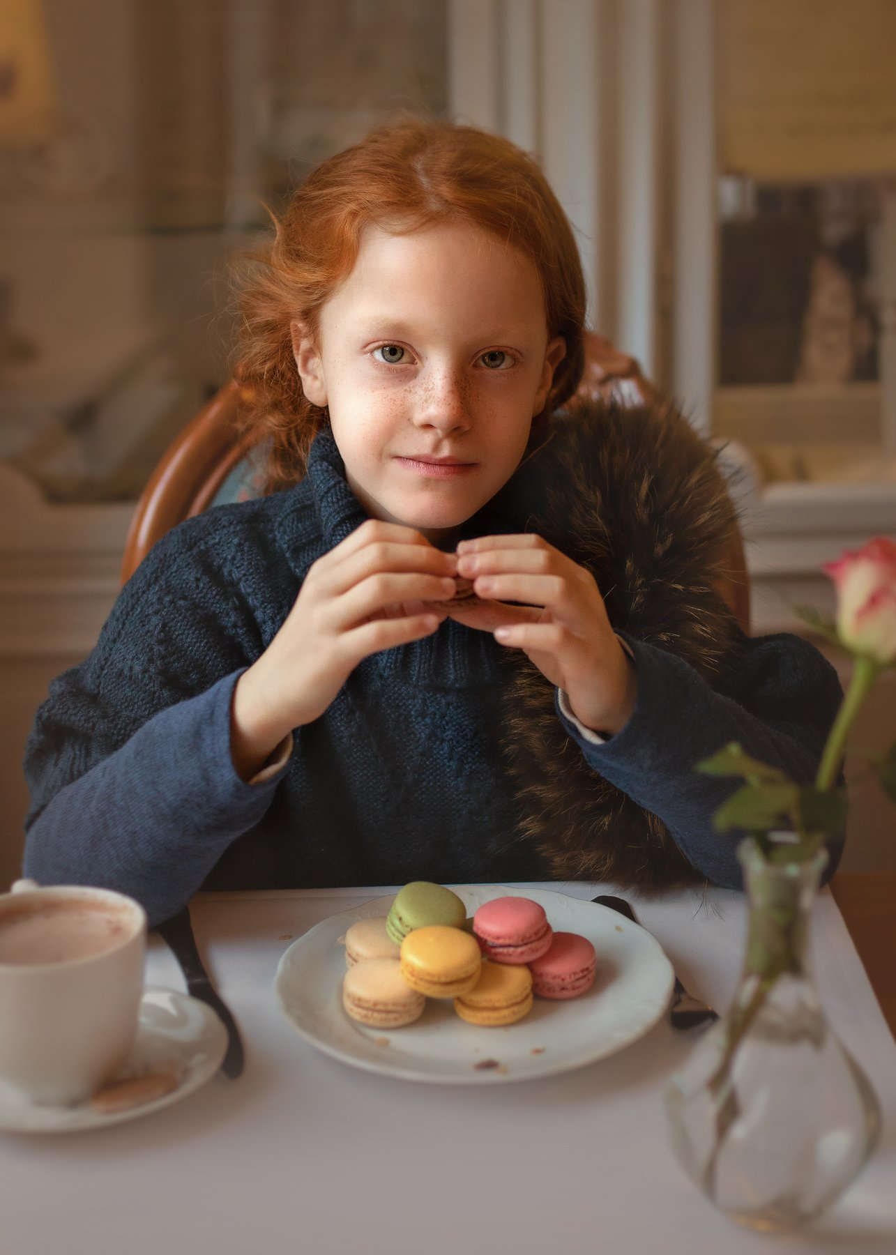 children, girl, redhead, cafe, potrait, Irina Welker