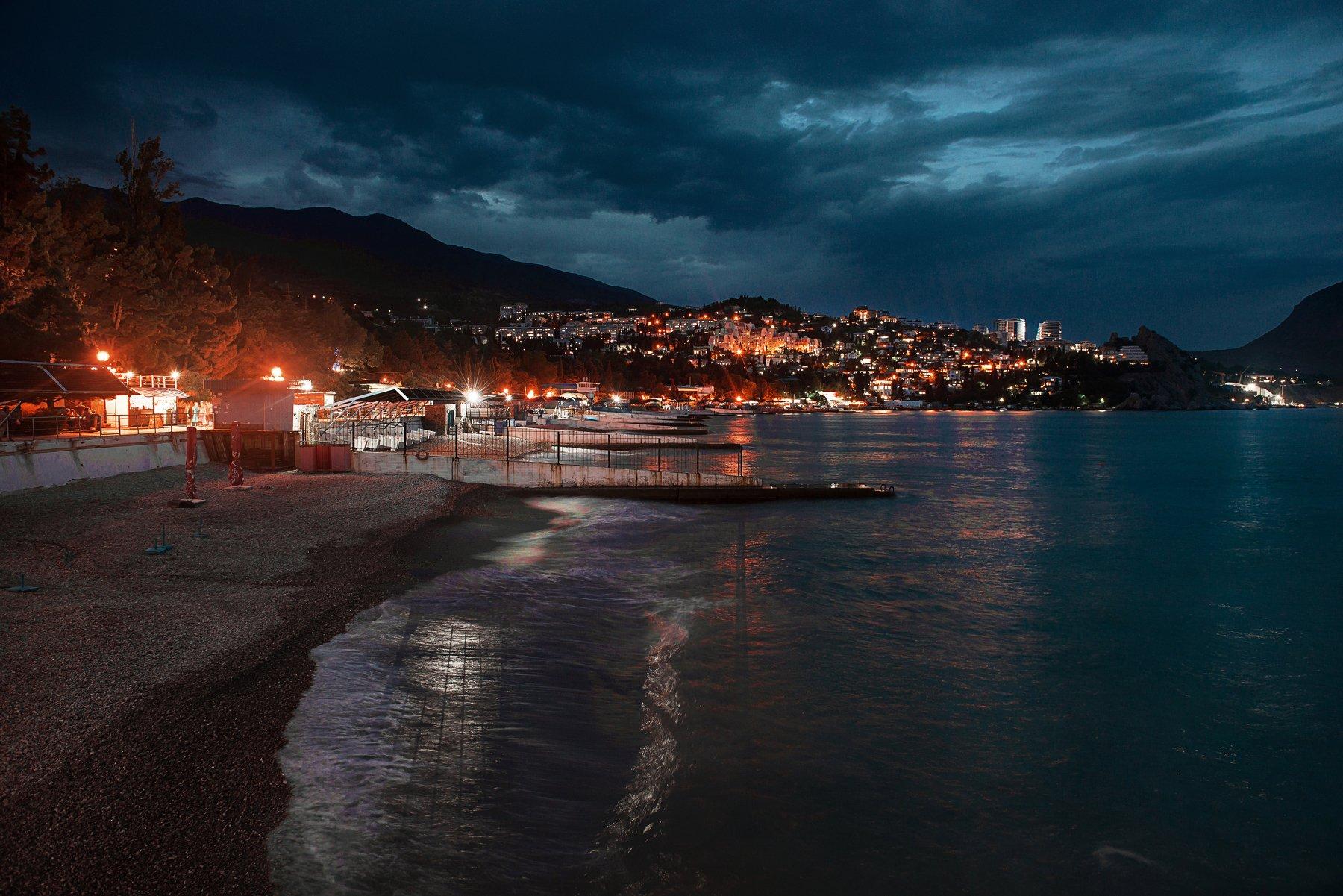 Крым, пейзаж, вечер, город, море, Некрасов Сергей