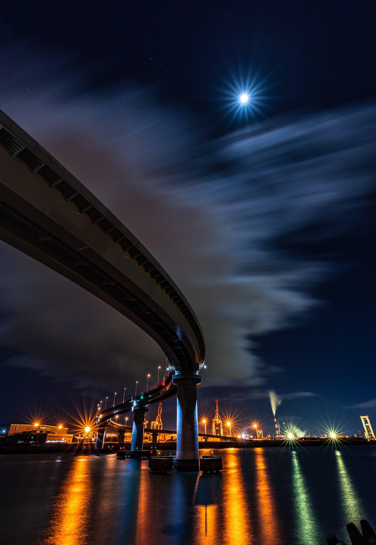 moon nightscape road sea japan long exposure , Hasan Jakaria